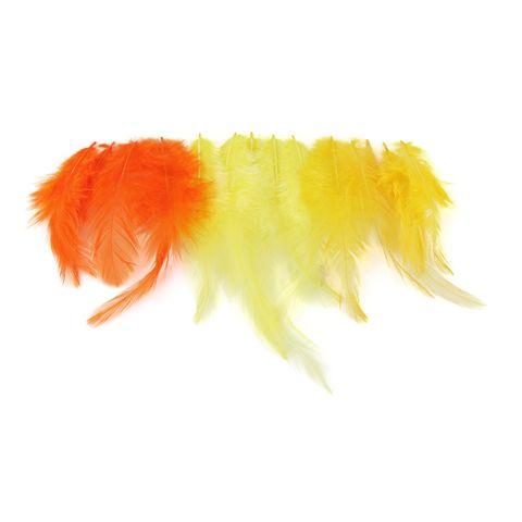Deko Federn - Hahnenfedern Gelb-Mix, ca. 9-14cm, 15 Stück