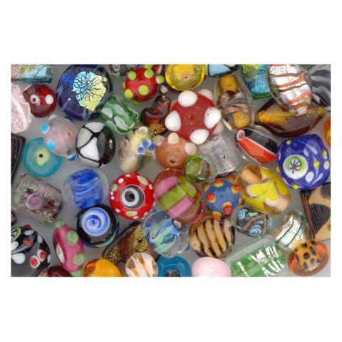 Lampenperlen Bunt-Mix - Glasperlen handgemacht, 150g (ca. 70 Stück) – Bild 2