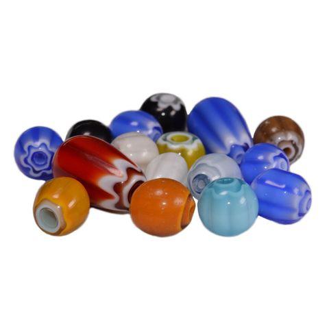 Chevron Perlen - Glasperlen-Mix bunt, rund & oval - 140g (ca. 120 Stück) – Bild 3