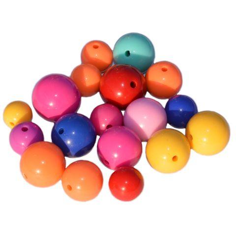 Plastikperlen rund, Kunststoffperlen Bunt Mix Ø 12-20mm, 200g (ca. 100 Stück) – Bild 1