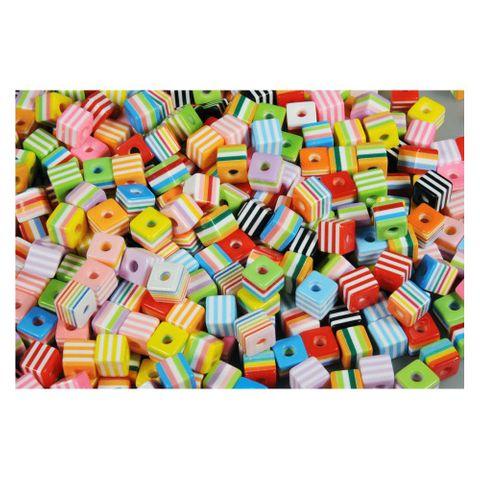 Plastikperlen Würfel gestreift Kunststoffperlen Mix 1x1cm, 60g (ca. 65 Stück) – Bild 2