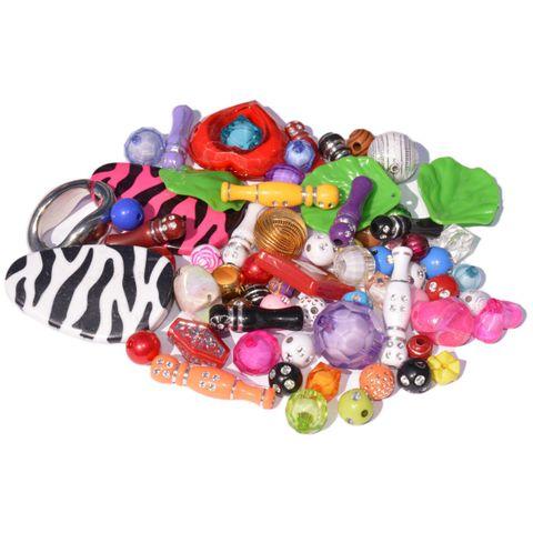 Plastikperlen Mix, Kreativset Perlen Fantasie versch. Motive, 500g (ca. 570 Stück) – Bild 1