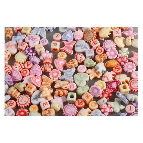 Plastikperlen Buchstaben & Figuren Kunststoffperlen Mix, 100g (ca. 400 Stück) – Bild 1