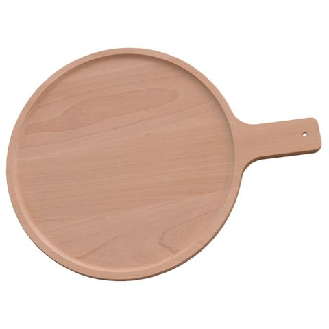 Pizzabrett Holz rund Ø 31cm mit Griff - massives Buchenholz, 2cm stark – Bild 1