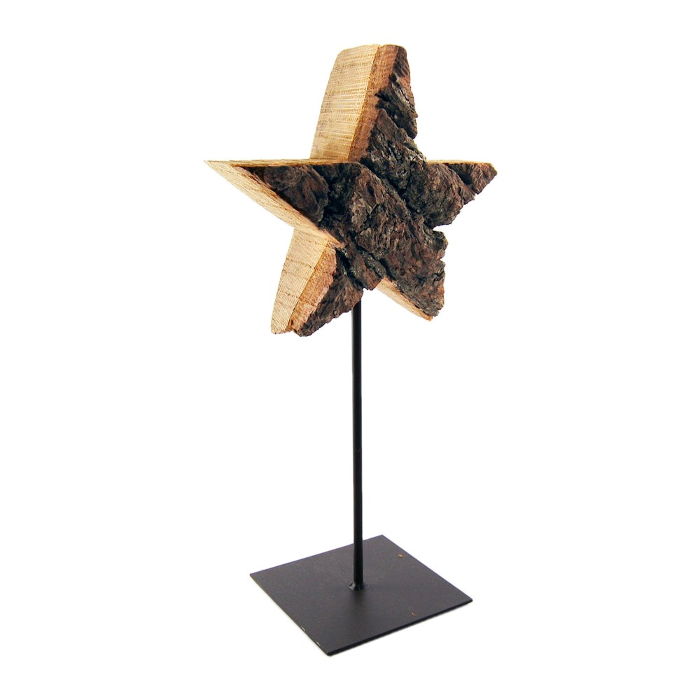 weihnachtsdeko holz stern auf stab mit standfu h32cm stern 16cm eiche. Black Bedroom Furniture Sets. Home Design Ideas