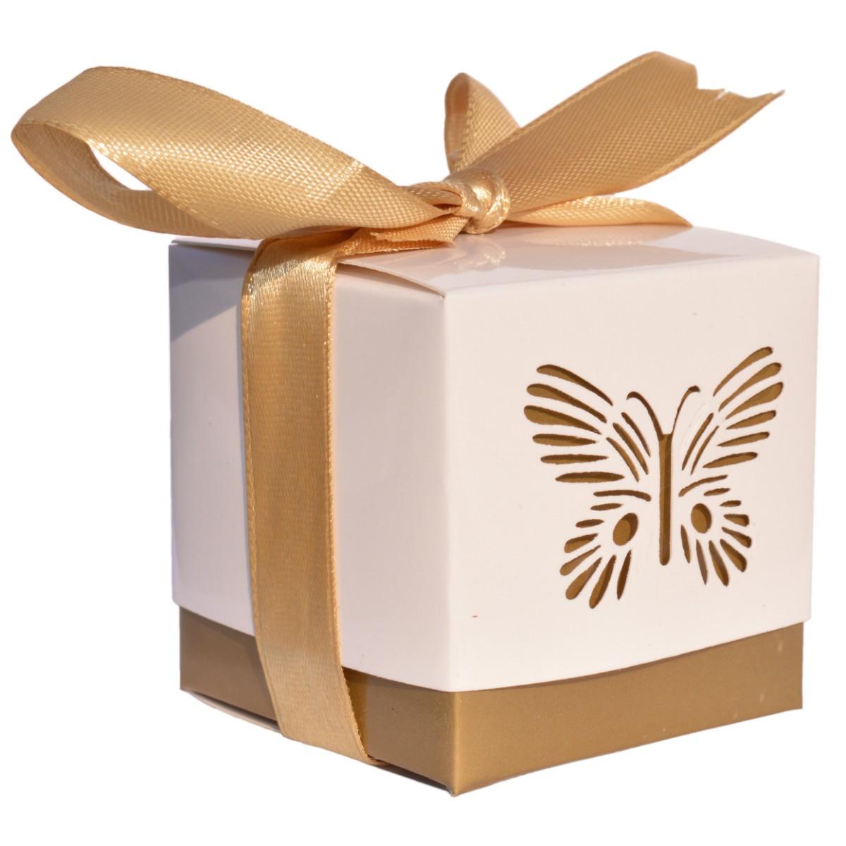 10er pack geschenkschachtel schmetterling gold deckel wei 5x5x5cm. Black Bedroom Furniture Sets. Home Design Ideas