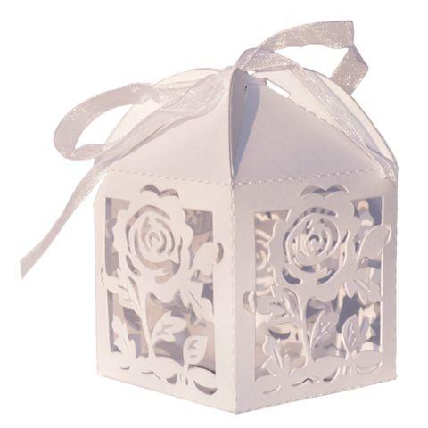 10x Geschenkschachtel klein weiß - Rosen - Hochzeit Bonbon 5x5x7,5cm – Bild 1