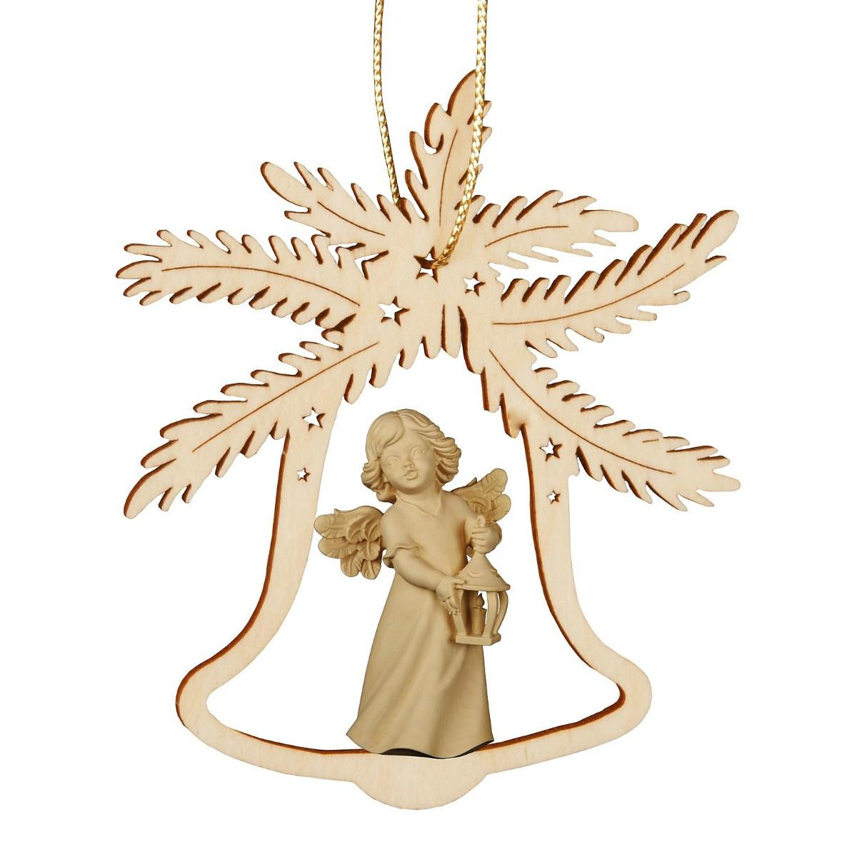 Deco Noel En Bois Naturel suspension déco noël - cloche avec ange en bois naturel sculpté 9cm