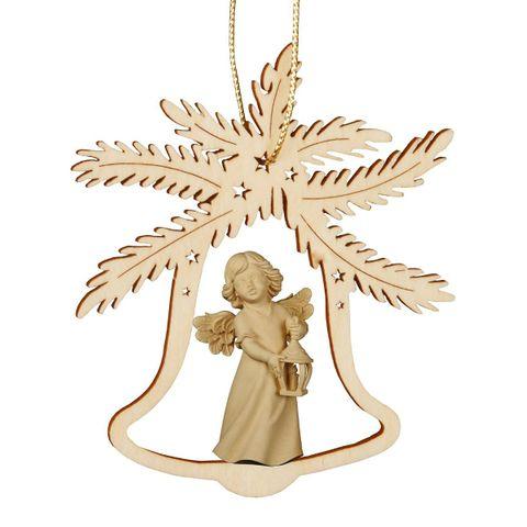 Christbaumschmuck Holz natur Glocke mit Engel, Höhe 9cm