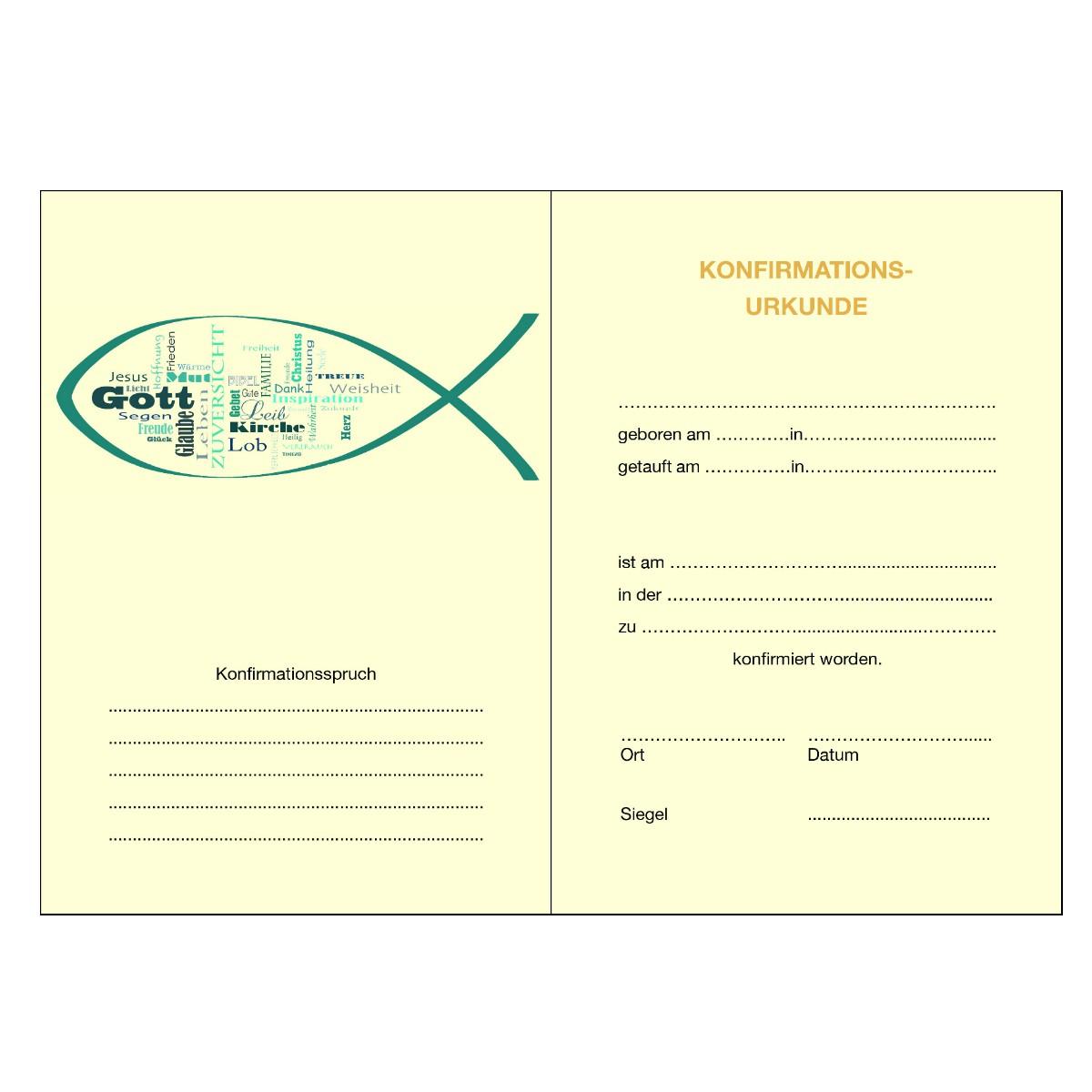 konfirmationsurkunde klappkarte a4a5 ichthys innen mit