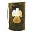 Windlicht groß - Holz Baumstamm Engel mit Glas & Kerze, 18x13cm
