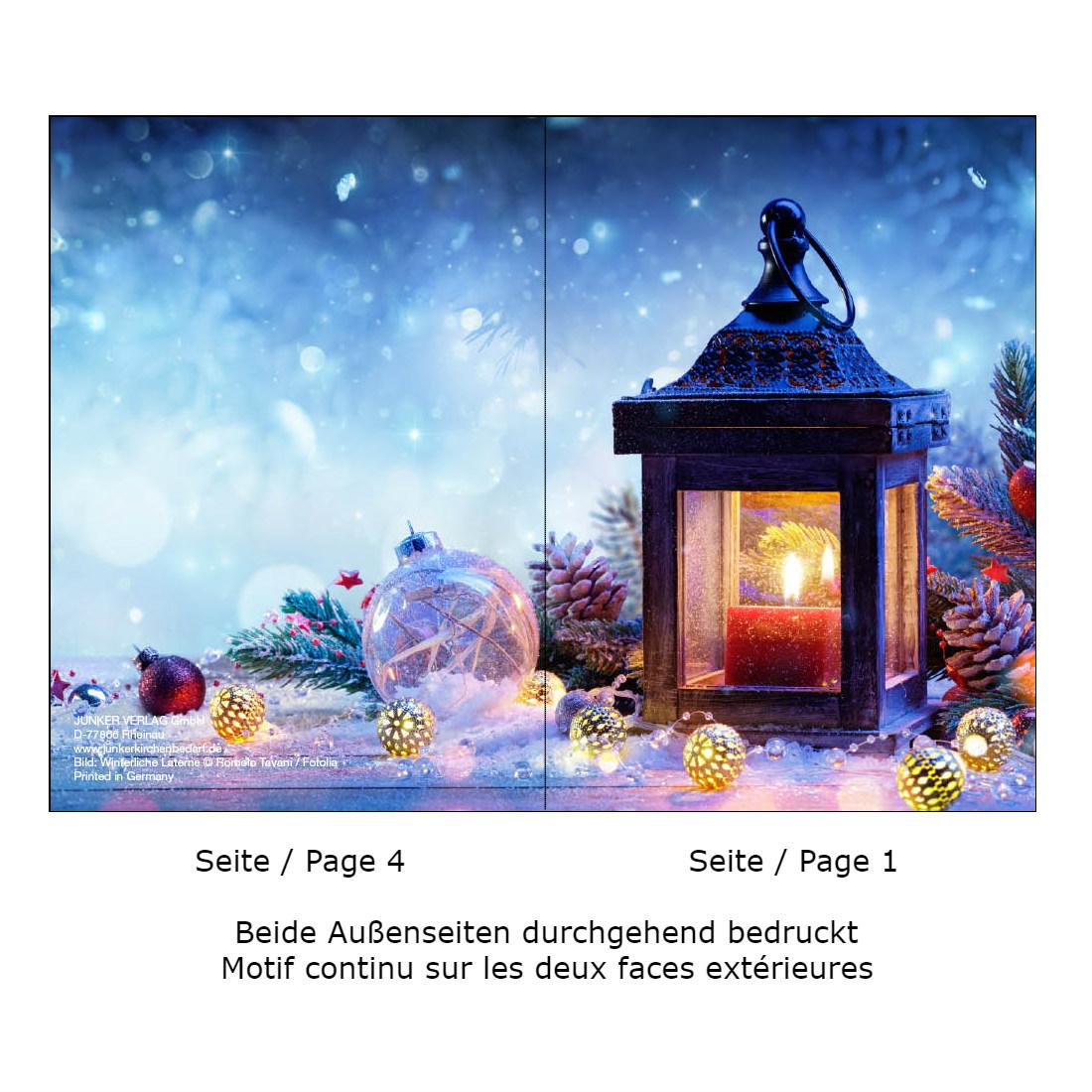 Weihnachtskarte DIN A6 Klappkarte Laterne, 10 Stück