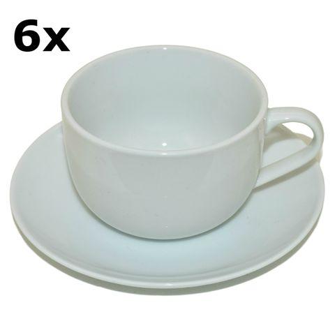 6 Porzellan Tassen mit Untertassen weiß zum Bemalen, 200ml, H 6 x Ø 9cm