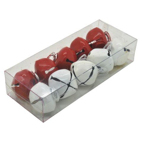 10 Weihnachtsschellen Glöckchen für Weihnachten rot/weiß 30mm, mit Schnur
