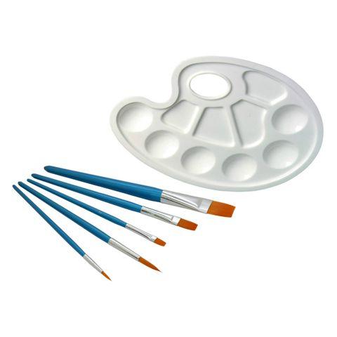 Pinsel Set, 5 Künstlerpinsel Synthetikhaar inkl Mischpalette, 1x rund, 3x flach, 1x Linierer – Bild 1