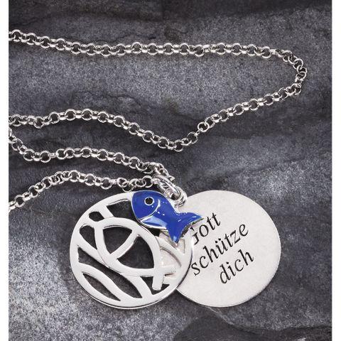 3-tlg 925 Silber Schmuck Anhänger Fisch Ichthys, mit blauem Fisch und Silberkette