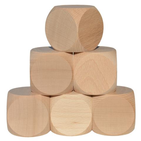 Blanko Holzwürfel 60mm, 6 Stück - Gebetswürfel Blanko-Würfel Holz unbedruckt
