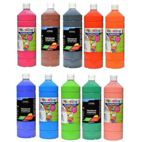 Schulmalfarben Set 10x1000ml - SPARPREIS - Premium Tempera für Schule & Hobby