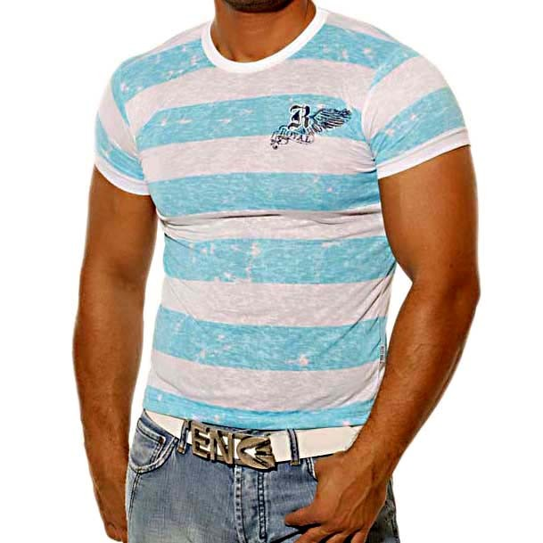 T-Shirt 495 Türkis / Weiß Rusty Neal