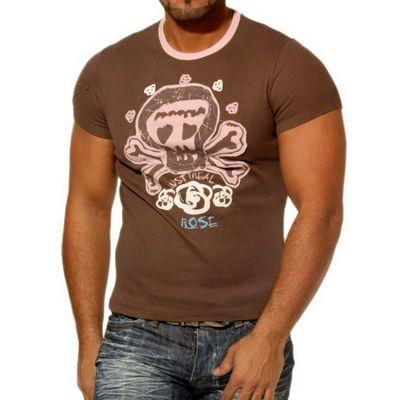 Rusty Neal Kurzarm Slim Fit Herren Rundhals Shirt Motiv T-Shirt Braun RN-712