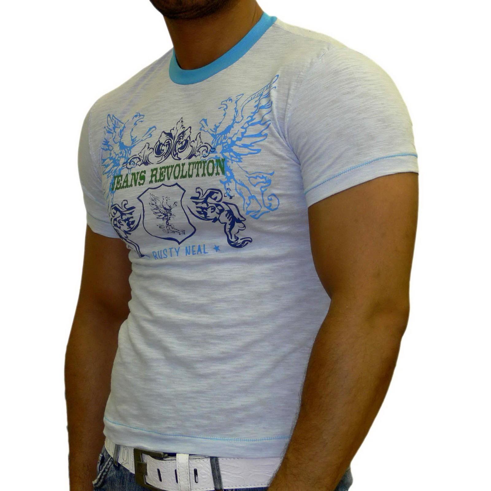 Rusty Neal Kurzarm Slim Fit Herren Rundhals Shirt Motiv T-Shirt Blau RN-312