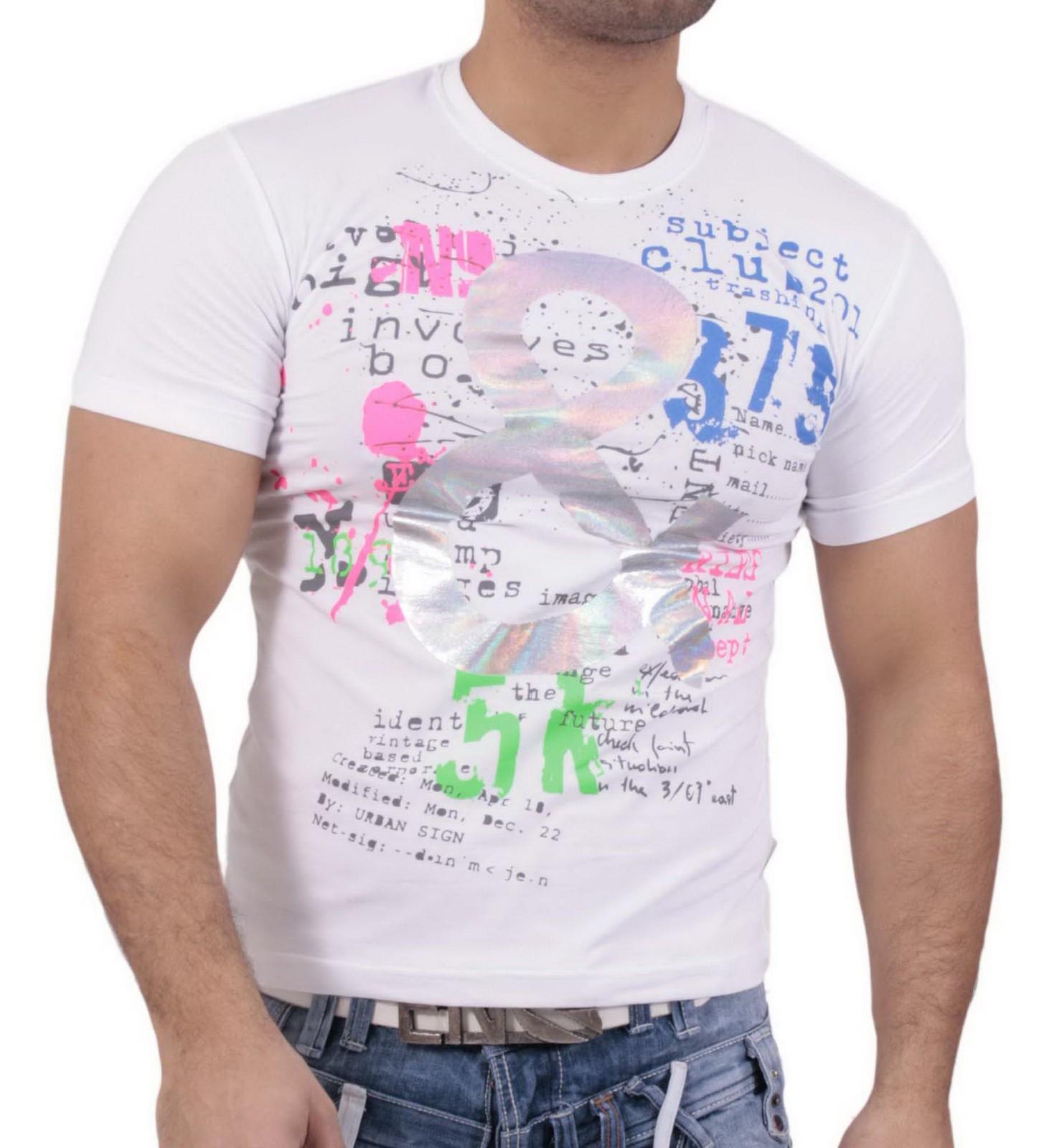 Rusty Neal Kurzarm Slim Fit Herren Rundhals Shirt Motiv T-Shirt Weiß RN-2804