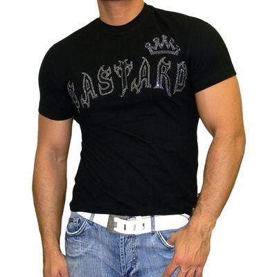 Rusty Neal Kurzarm Slim Fit Herren Rundhals Shirt Motiv T-Shirt Schwarz RN-961