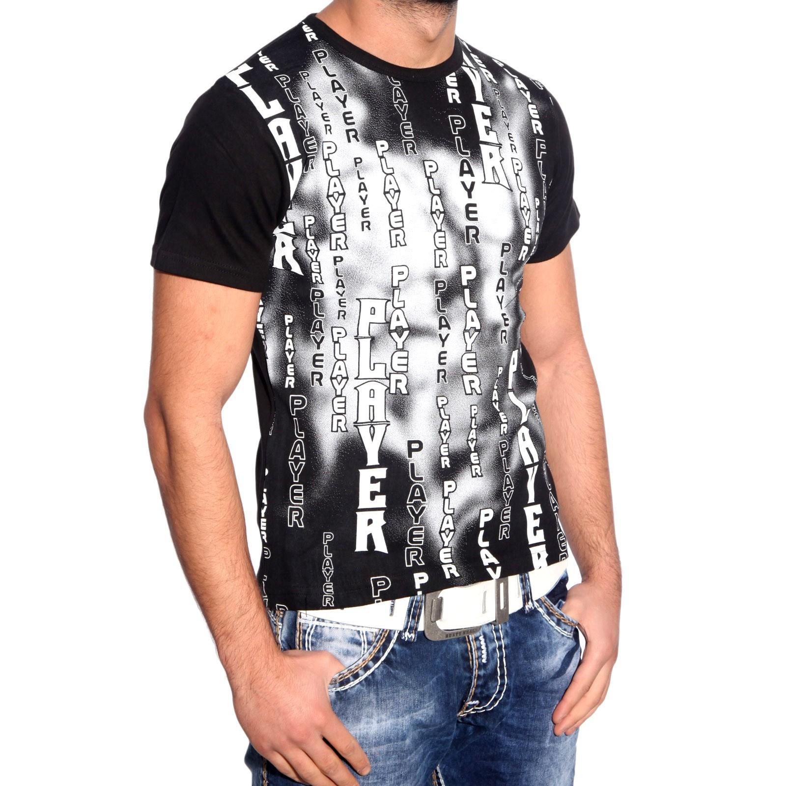 Bring UP Kurzarm Slim Fit Herren Rundhals Shirt Motiv T-Shirt Schwarz BU-3668