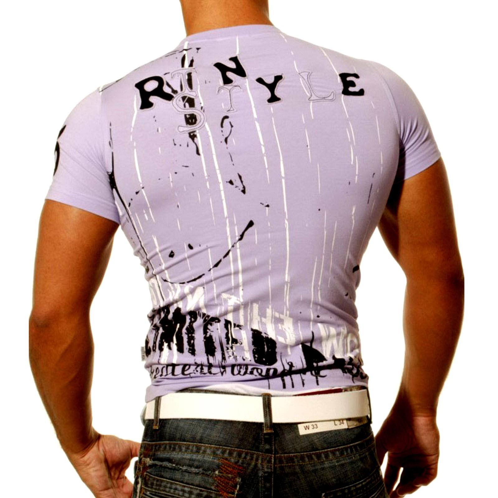 Rusty Neal Kurzarm Slim Fit Herren Rundhals Shirt Motiv T-Shirt Lila RN-708