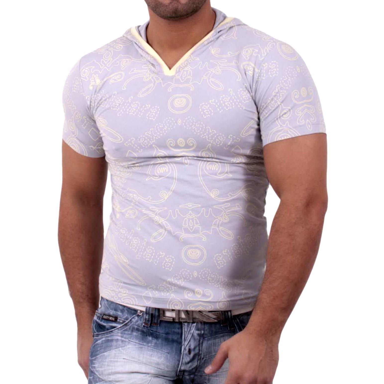 Rusty Neal Kurzarm Slim Fit Herren Kapuzen Shirt Motiv T-Shirt Grau RN-1651