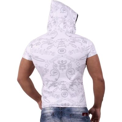 Rusty Neal Kurzarm Slim Fit Herren Kapuzen Shirt Motiv T-Shirt Weiß RN-1651