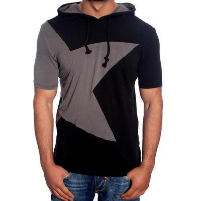 T-Shirt Kapuzen Schwarz Anthrazit 6579 R-Neal