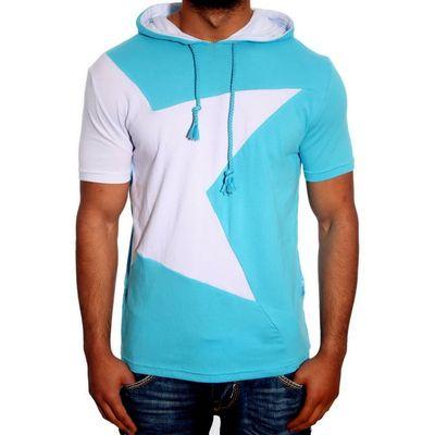 T-Shirt Kapuzen Türkis Weiß 6579 R-Neal