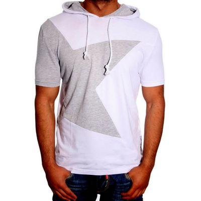 T-Shirt Kapuzen Weiß Grau 6579 R-Neal