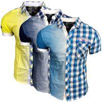 Hemd Karo 8222 Türkis Gelb Blau R-Neal Herren Shirt 001