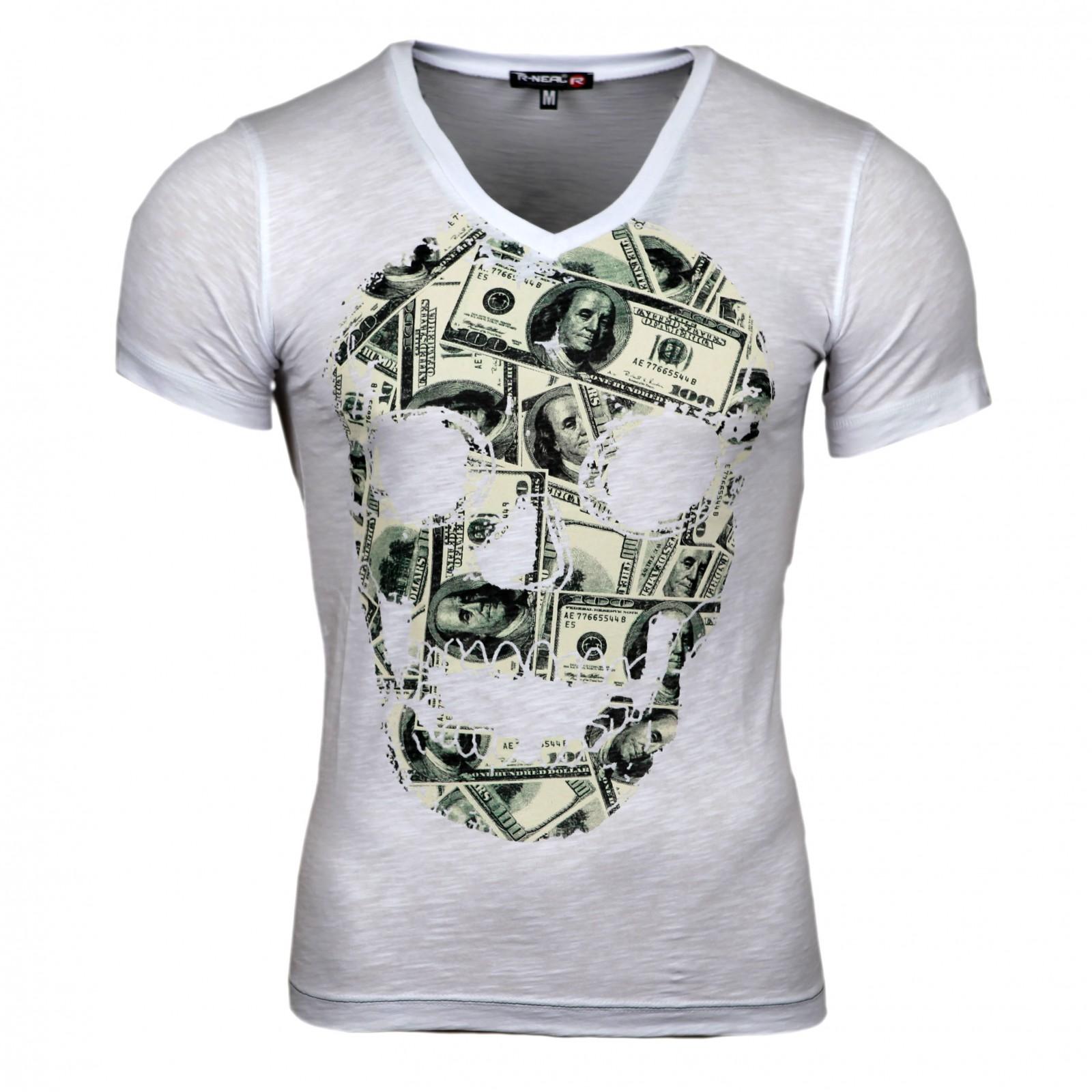 Clubwear Kurzarm Herren V-Neck T-Shirt Optik Shirt Skull Shirt Schwarz Rot  Weiß