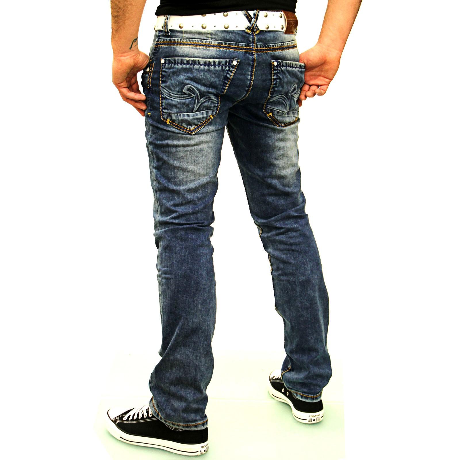 Herren Jeans Hose Vintage Used Look Dicke Naht Orange A17615