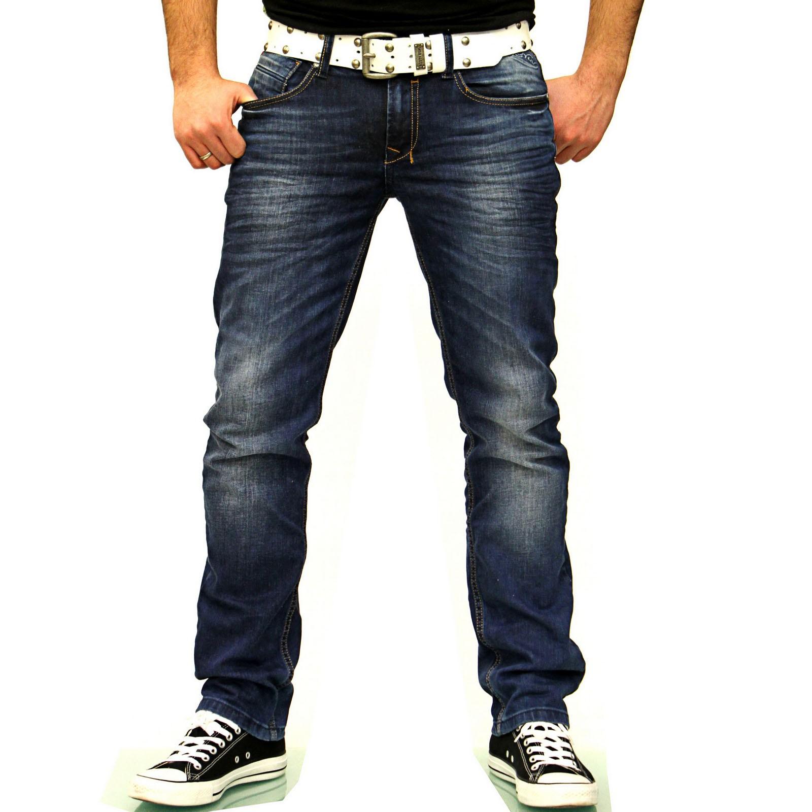 Herren Jeans Blau Hose Vintage Used Look A17638