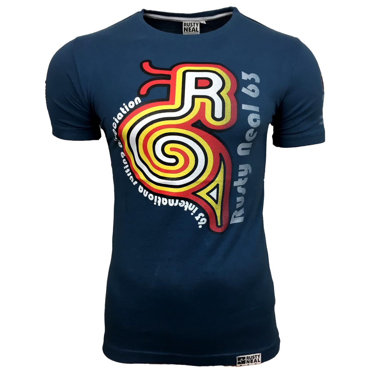 Herren Style Blau Schwarz Weiß T-Shirt AE-13512