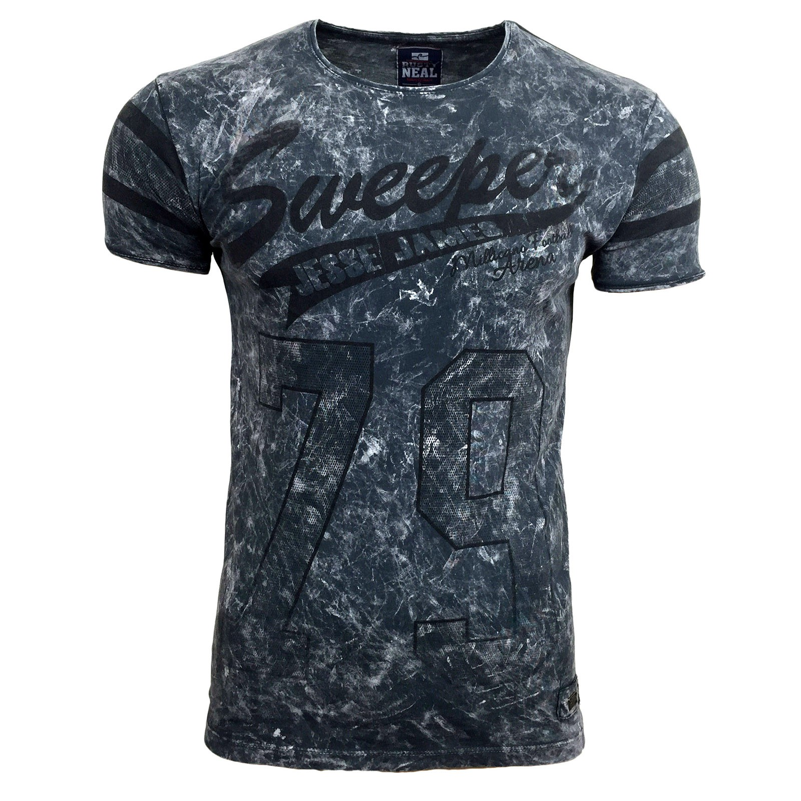 t shirt kurzarm herren rundhals stone washed optik batik shirt rn 16754 avroni ebay. Black Bedroom Furniture Sets. Home Design Ideas