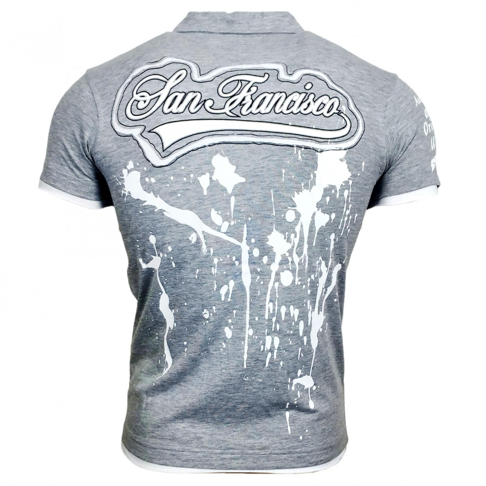 T Shirt Herren Kurzarm Weiß Grau A11610