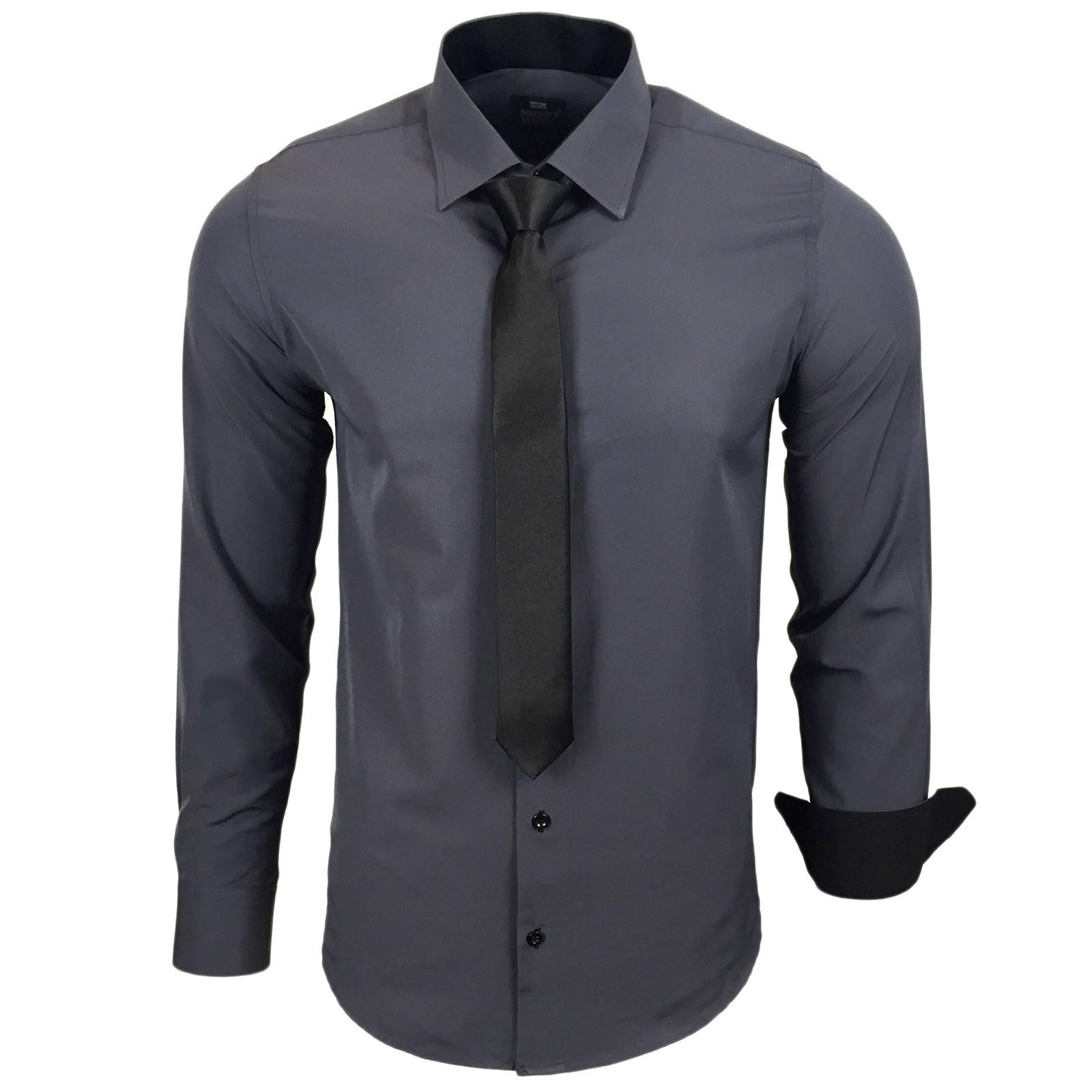 Herren Hemd Hochzeit Feier Freizeit Business mit KRAWATTE