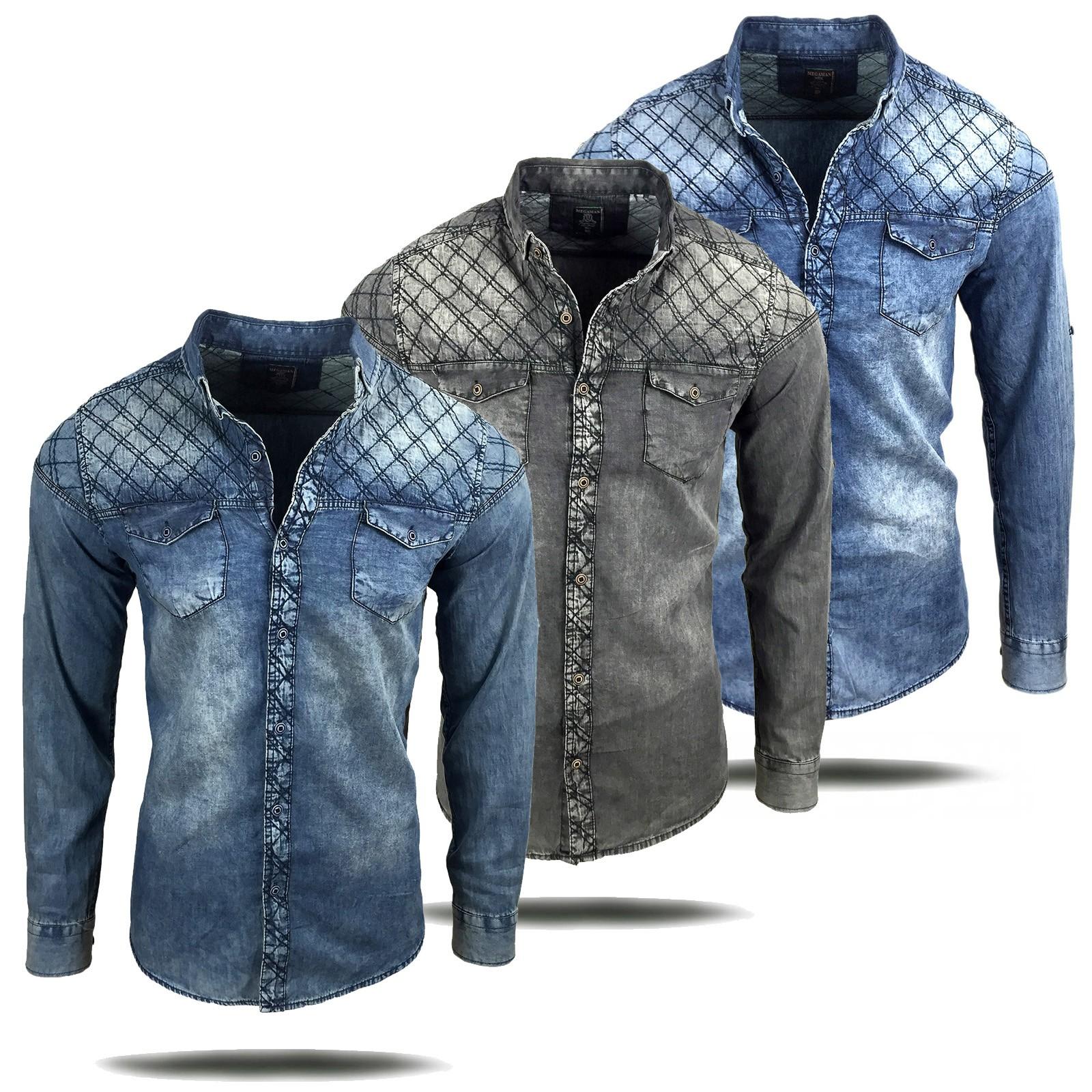 timeless design 5fec2 a565f Herren Jeans Hemd Used Look verwaschen langarm kurzarm blau ...