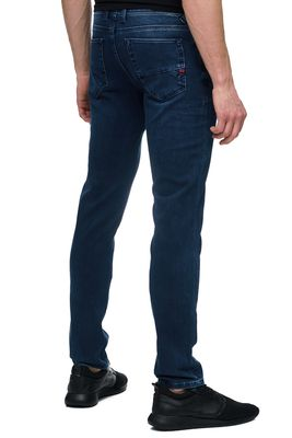 RUSTY NEAL HERREN SLIM FIT JEANS CHINO HOSE HYPER FLEX BLAU DENIM 12092 NEU