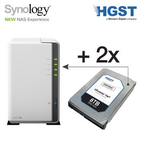 SYNOLOGY DiskStation DS216j 16TB NAS-Server 2-Bay + 2x 8TB He8 HUH728080ALE604