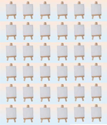 Minikeilrahmen Keilrahmen auf Staffelei Tischdeko Tischkarte 36 Stück Set – Bild 1