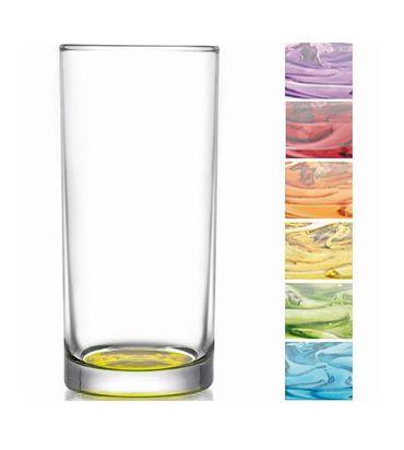 Longdrink Gläser mit farbigem Boden 6 Stück Set
