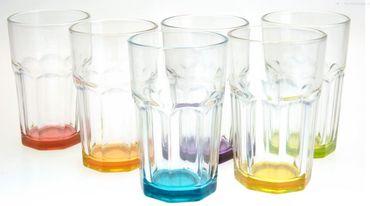 Caipirinha Caipi Gläser farbiger Boden 6 Stück Set