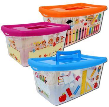Aufbewahrungsboxen für Kinder transparent mit Deckel und Handgriff 4 Liter 3 Stück sortiert – Bild 1