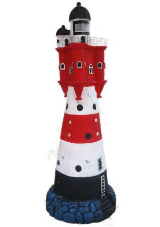 Leuchtturm rot weißer Turm XXL Höhe ca. 90 cm Ø 31 cm Solar LED Leuchtfeuer Signal Gartendekoration – Bild 2